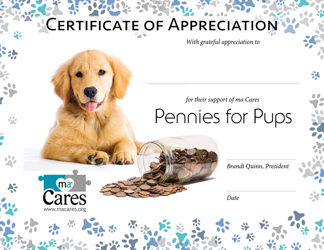 Pennies For Pups Certificate Web